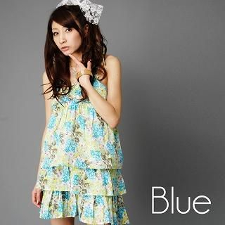 Buy Click Japan Layered Floral Print Sundress Blue – One Size 1022466127