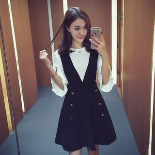 Set: 3/4 Sleeve Knit Top + Buttoned A-Line Pinafore Dress 1054671560