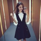 Set: 3/4 Sleeve Knit Top + Buttoned A-Line Pinafore Dress 1596