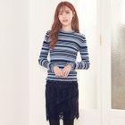 Frilled-Trim Striped Knit Top 1596