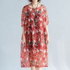 Printed Elbow Sleeve Chiffon Dress 1596