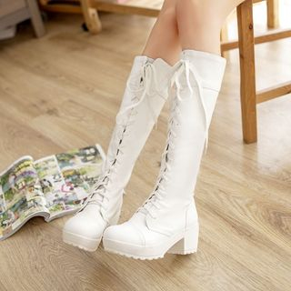 Image of Block Heel Lace-up Long Boots