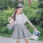 Plaid Suspender Mini Skirt 1596