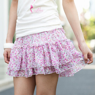 Picture of ageha@shibuya Floral Print Ruffled Skirt Pink - One Size 1022589689 (ageha@shibuya Apparel, Womens Skirts, Japan Apparel, Japan Skirts)