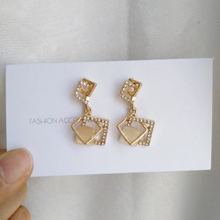 Rhinestone | Earring | Dangle | Silver | Stud | Size | One