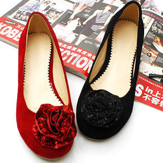 Picture of KAWO Genuine Suede Flower-Accent Flats 1022772898 (Flat Shoes, KAWO Shoes, China Shoes, Womens Shoes, Womens Flat Shoes)