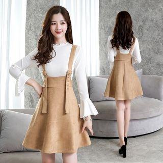 Set: Bell-Sleeve Top + A-Line Pinafore Dress 1062567342