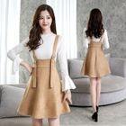 Set: Bell-Sleeve Top + A-Line Pinafore Dress 1596