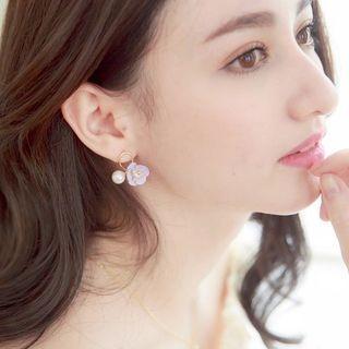 Rhinestone Floral Faux Pearl Earrings