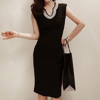 Embellished Ribbed Bodycon Dress 1051585608