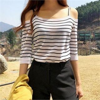 Cutaway-Shoulder Stripe Knit Top 1059729070