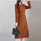 Button Detail Long-Sleeve A-Line Dress 1596