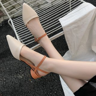Image of Pointy Ankle Strap Round Heel Sandals