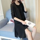 Set: Ribbed Open Front Long Cardigan + Ribbed Spaghetti Strap Dress 1596