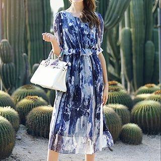 Short-Sleeve Printed Silk Dress