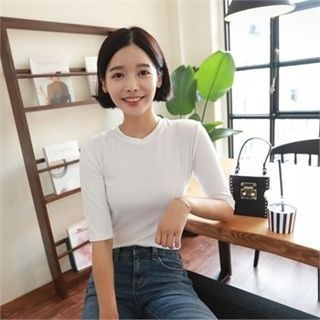 Elbow-Sleeve Ribbed T-Shirt 1061181555