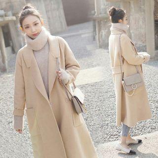 Plain Notch Lapel Long Woolen Coat 1062133836