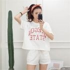 Set: Round-Neck Lettering Top + Sweat Shorts 1596