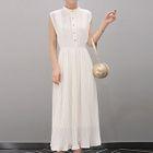 Sleeveless Pleated Maxi Dress 1596