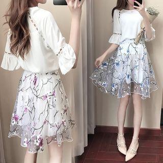 Set: Elbow-Sleeve Perforated Mini Dress + Floral Print A-Line Skirt 1066325920