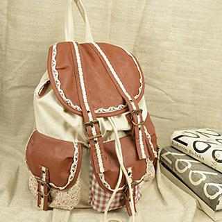 Buckled Lace Panel Backpack
