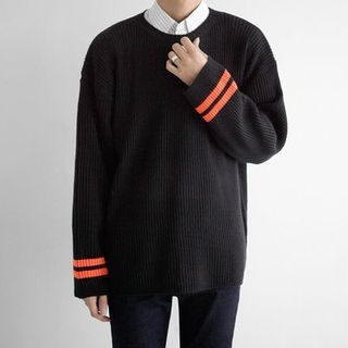 Contrast-Trim Ribbed Sweater 1053972743