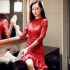 Elbow-Sleeve Ruffle Sheath Lace Dress 1596