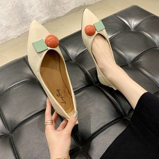 Image of Ball Applique Pointy-Toe Flats
