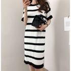 Ribbed Striped Knit Dress 1596