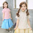 Kids Set: Short Sleeve Cheongsam Top + Pleated Skirt 1596