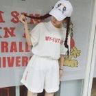 Set: Lettering Elbow-Sleeve T-Shirt + Wide-Leg Shorts 1596