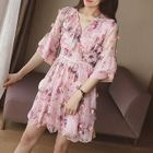 Floral Print Elbow Sleeve A-Line Dress 1596
