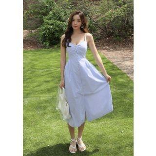 Sleeveless Button-Front Long Dress 1066283114
