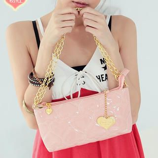 Patent Heart Embossed Handbag