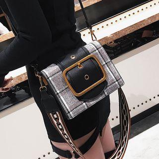 Buckled Plaid Crossbody Bag