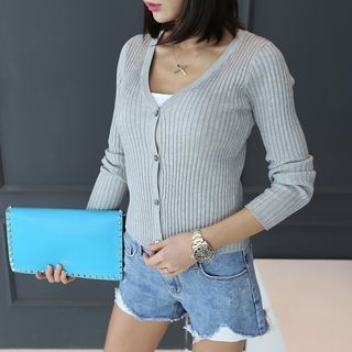 V-Neck Ribbed Cardigan 1058202613