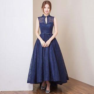 Split-neck Sleeveless Evening Dress 1053079519