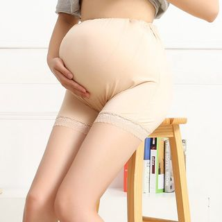 Image of Maternity Lace Panel Boy Shorts