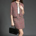 Set: Plaid Elbow-Sleeve Jacket + Mini Skirt 1596