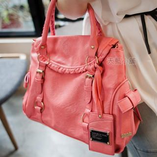 Tag-Accent Flap Satchel