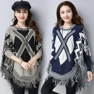 Patterned Knit Poncho 1063162584