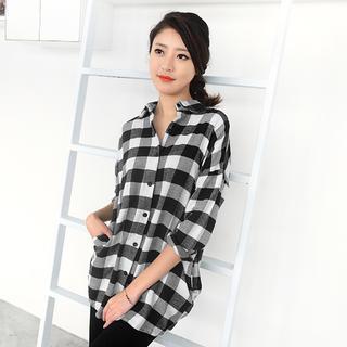 gingham-long-shirt-black-white-one-size