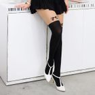 Bow-Accent Two-Tone Tights Black and Nude - One size 1596