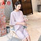 Maternity Lace Elbow-Sleeve Dress 1596