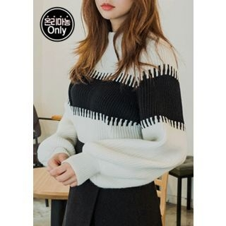 Balloon-Sleeve Color-Block Rib-Knit Top 1055021254