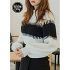 Balloon-Sleeve Color-Block Rib-Knit Top 1596