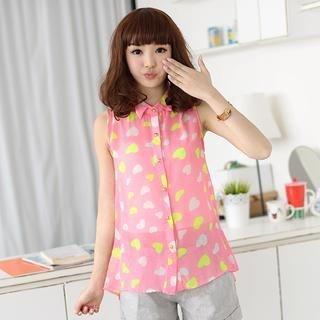 heart-pattern-sleeveless-shirt