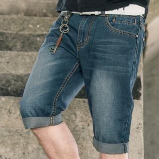 Distressed Washed Denim Shorts 1035667388