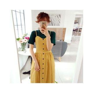 Spaghetti-Strap Linen A-Line Dress 1059523792