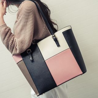 Image of Color Block Faux Leather Tote